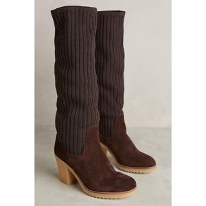 Anthro Miss Albright brown Sweaterknit Boots sz 39